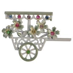 "B.J. Multi-Color Enamel ""Flower Cart"" Brooch"