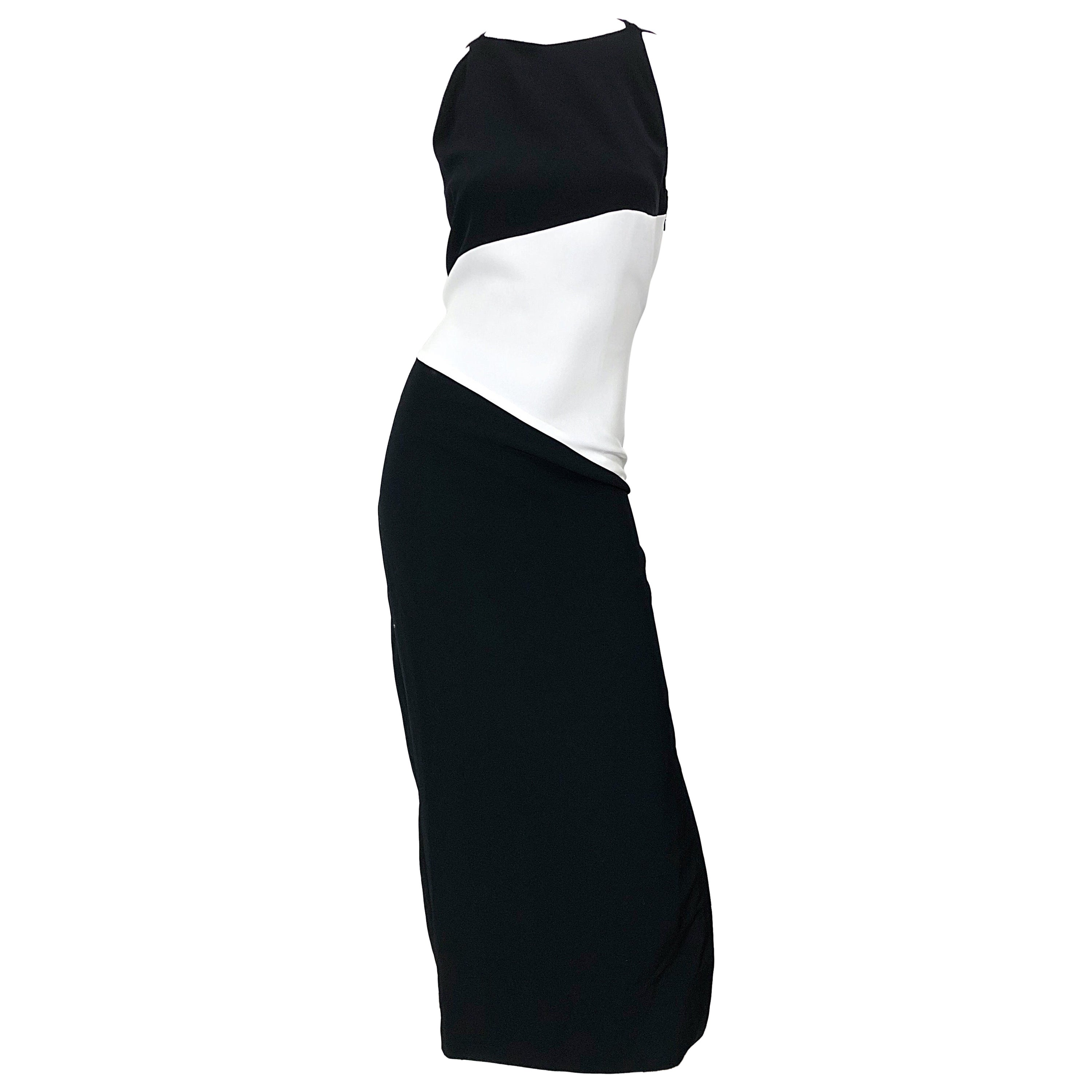 NWT Vintage Bob Mackie Size 8 Black and White Color Block Sleeveless Gown Dress