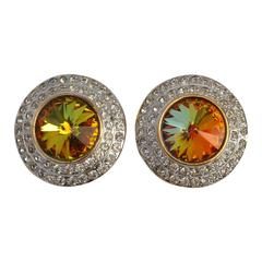 Large Iridescent Center with Multi-Rhinestones Evening Ear Clips