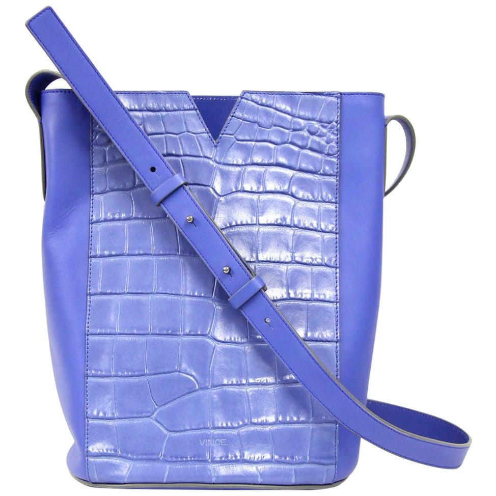 2000s Cobalt Blue Leather Bucket Bag