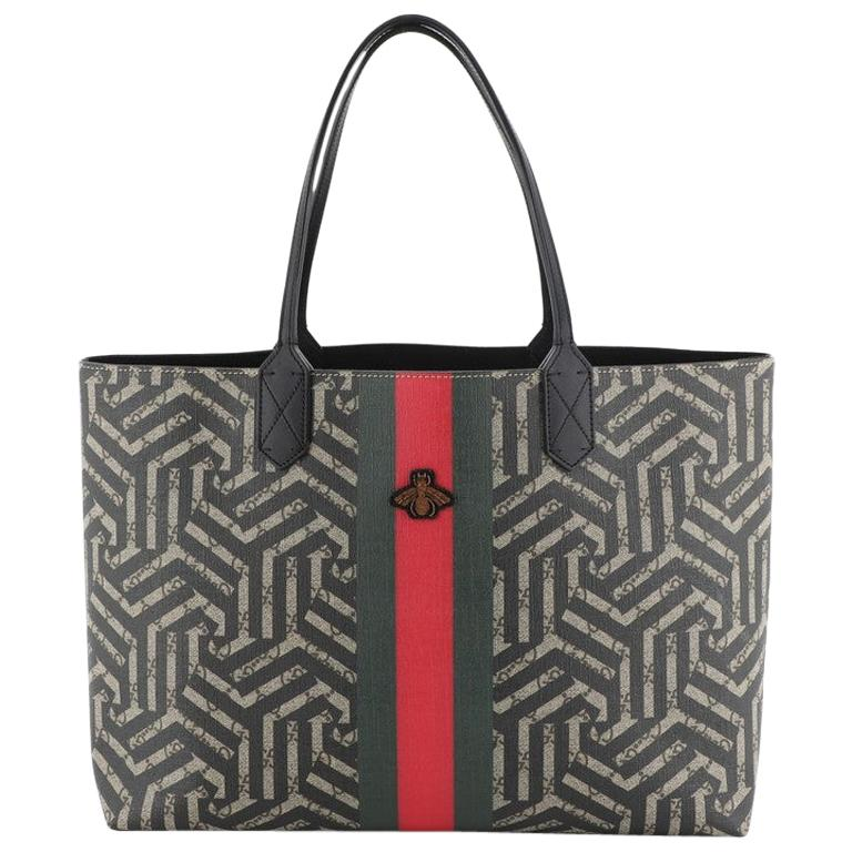 Gucci Bee Web Shopping Tote Caleido Print GG Coated Canvas Medium For Sale