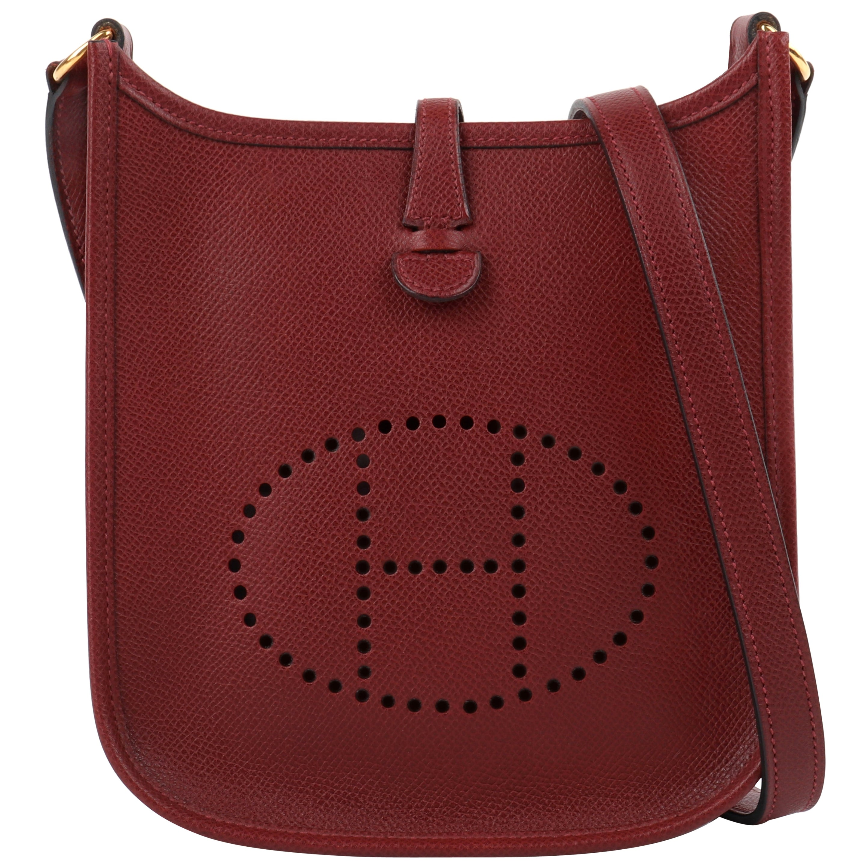 "HERMES ""Evelyne I"" 2004 Rouge Clemence Leather Perforated Logo Shoulder Bag TPM"