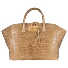 VBH Iconic Brera 40cm Shiny Hickory Alligator Top Handle Tote