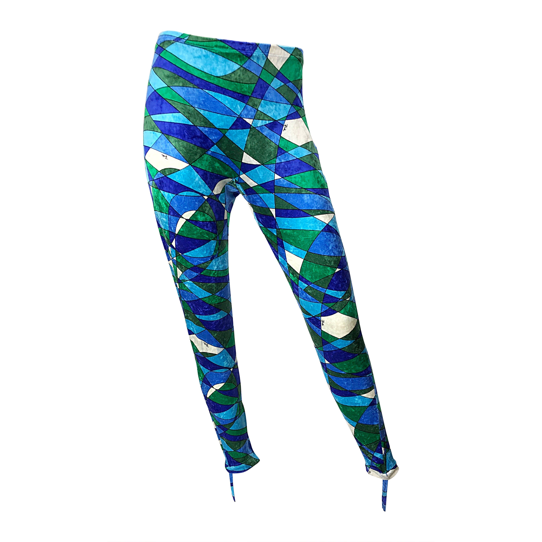1960s Emilio Pucci Crushed Velour Blue + Green Kaleidoscope 60s Stirrup Pants