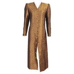 Leopard Lame Coat Dress attributed to Jean Louis Scherrer
