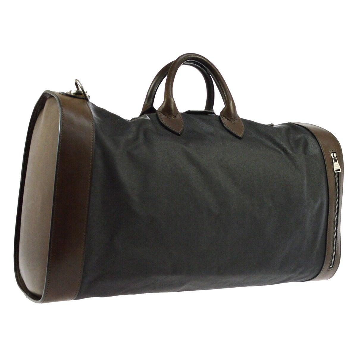 Louis Vuitton Black Brown Canvas Leather Top Handle Men's Travel Duffle Bag