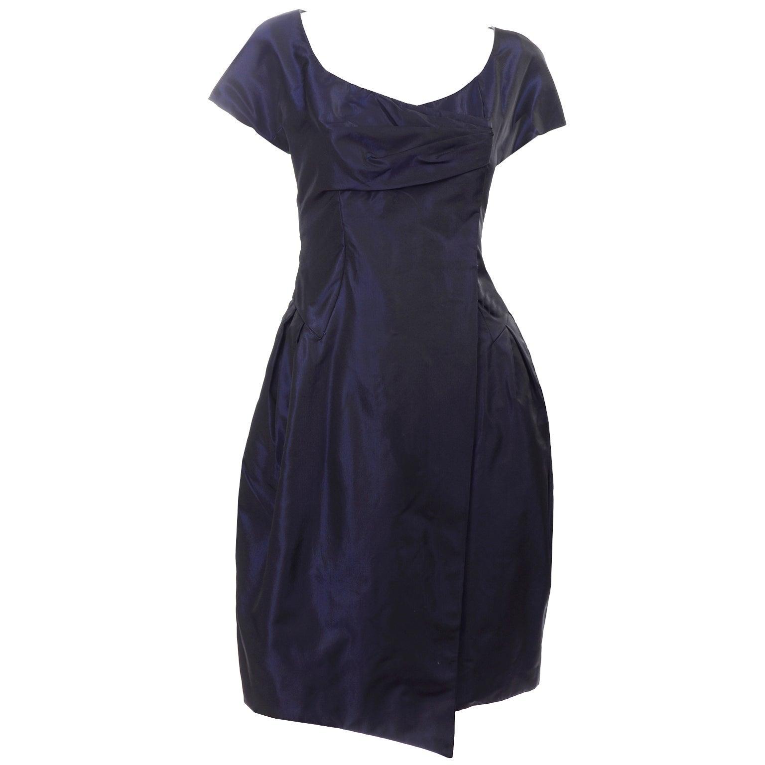 Christian Lacroix Vintage Midnight Blue Silk Evening Dress
