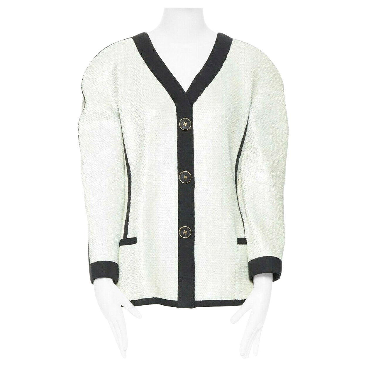 runway CHANEL SS91 white sequin black grosgrain trim scuba zipper jacket FR44