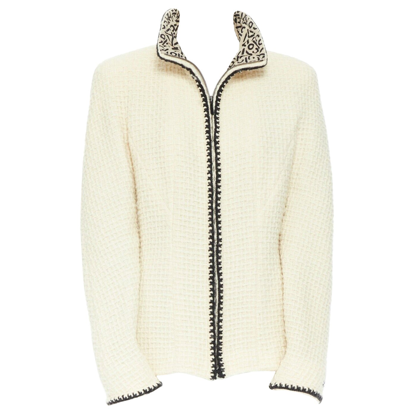 CHANEL 00A ivory waffle tweed black trim print collar zip-up jacket FR42