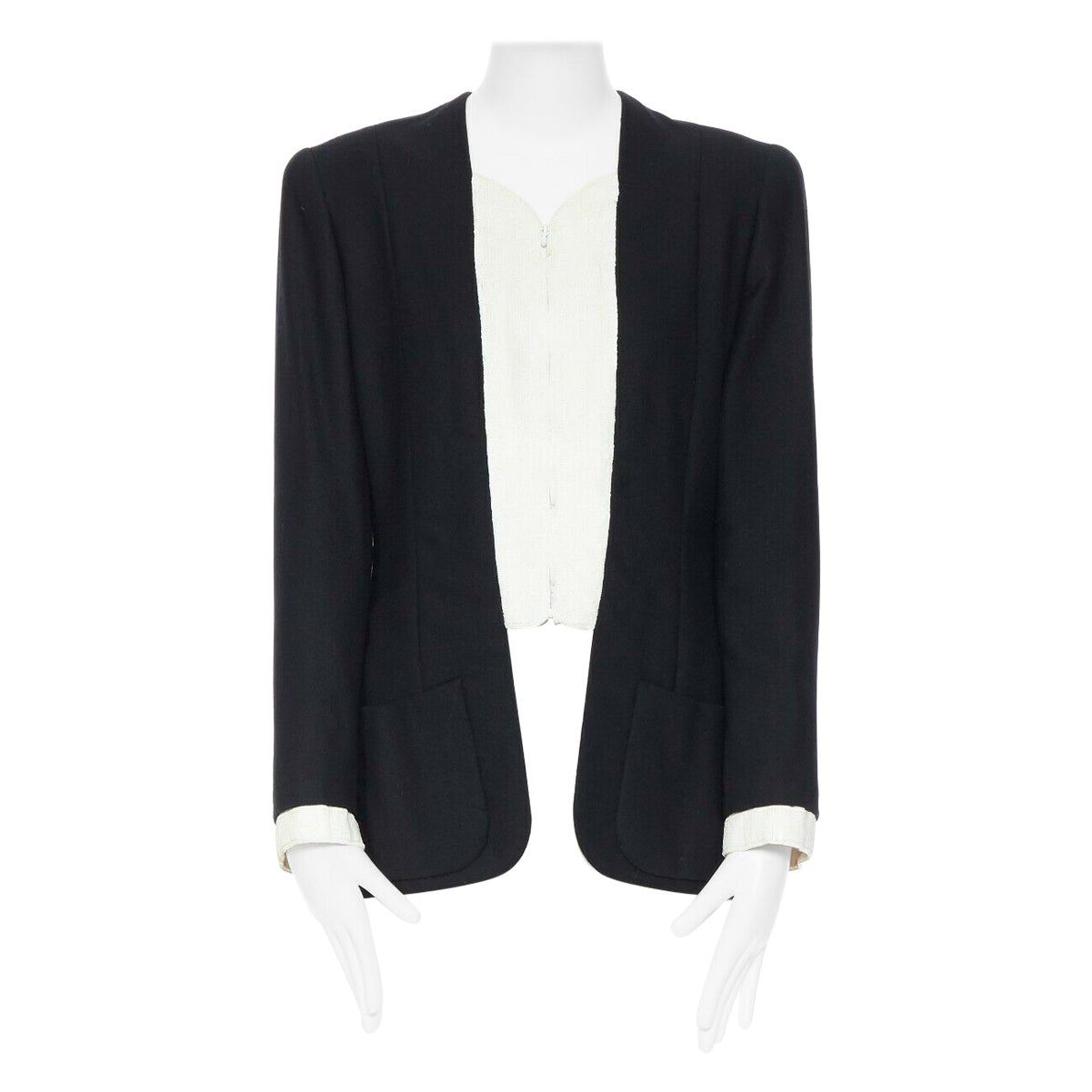 CHANEL HAUTE COUTURE Tromp L'oeil white matte sequins zip front wool jacket L