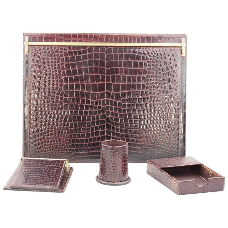 GUCCI Italian VINTAGE Brown Crocodile 4 PIECES DESK SET Blotter Notepad Pen Cup