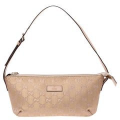 Gucci Metallic Beige GG Canvas and Leather Pochette