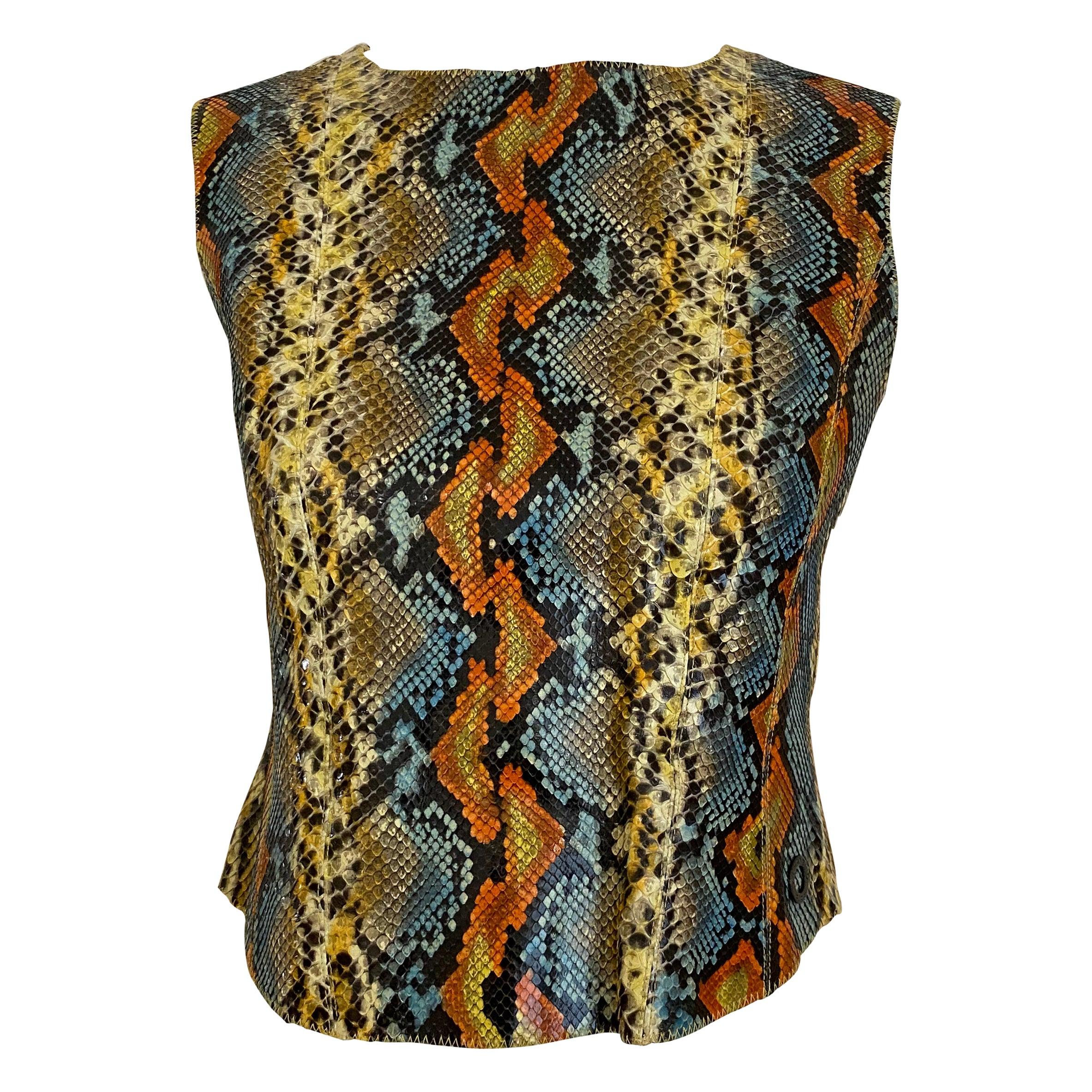 Vintage CHANEL Multi Color Snake Skin Sleeveless Top