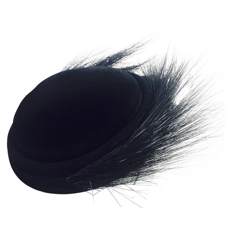 1950s Black Felt and Egret Feather Cocktail Hat