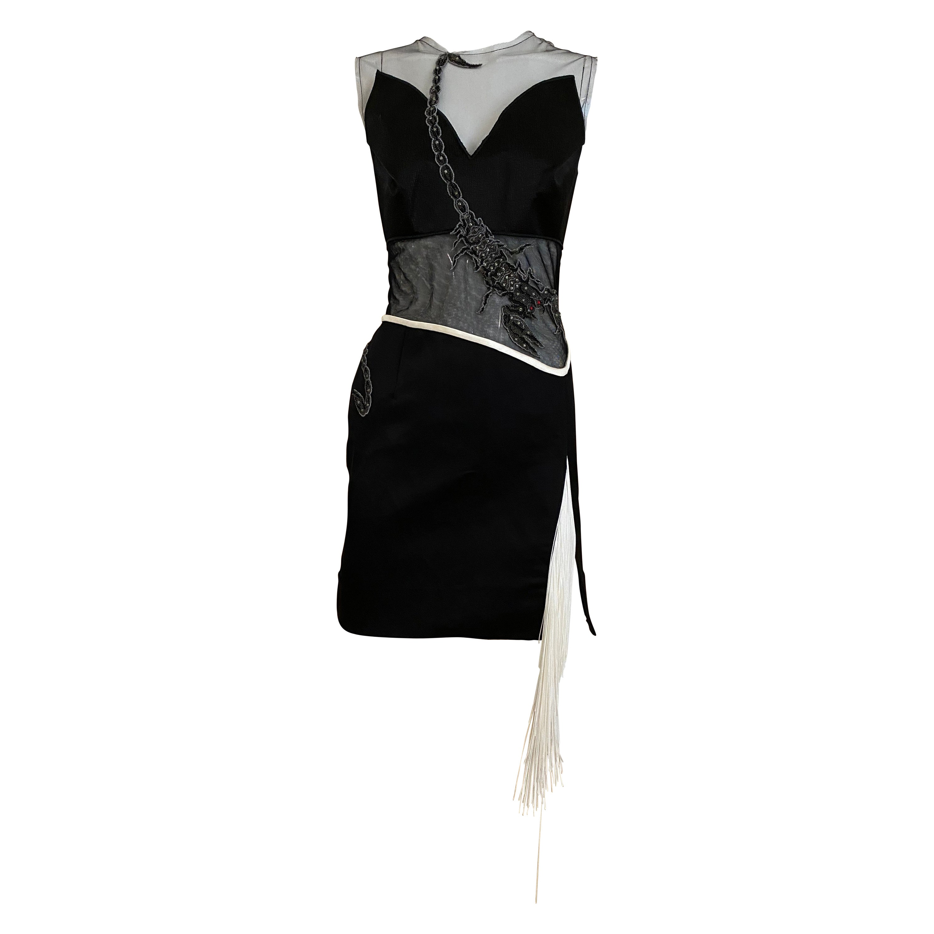 Rodarte Black Silk Mesh Embroidery Dress