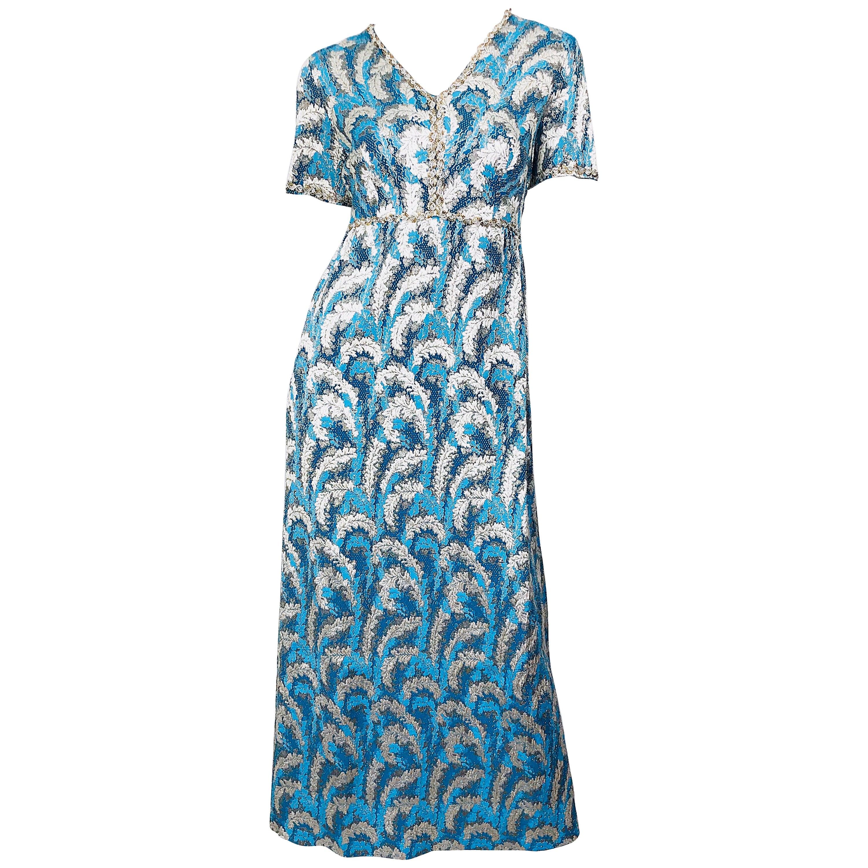 1960s Oscar de la Renta Turquoise Blue Silver Silk Brocade Sequin 60s Gown Dress