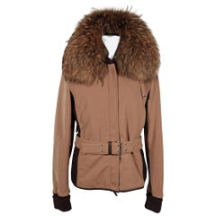 PRADA Tan  BELTED ZIP JACKET Fur Collar SZ 44 IT SC