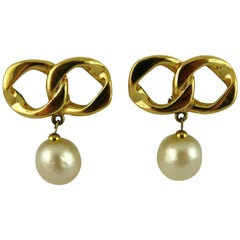 Chanel Vintage Iconic Chain & Pearl Dangling Earrings