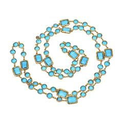 Sapphire Blue Glass and Gold Plated Chanel Chicklet Necklace