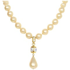 Chanel Vintage '86 Pearl & Crystal Tear Drop Necklace