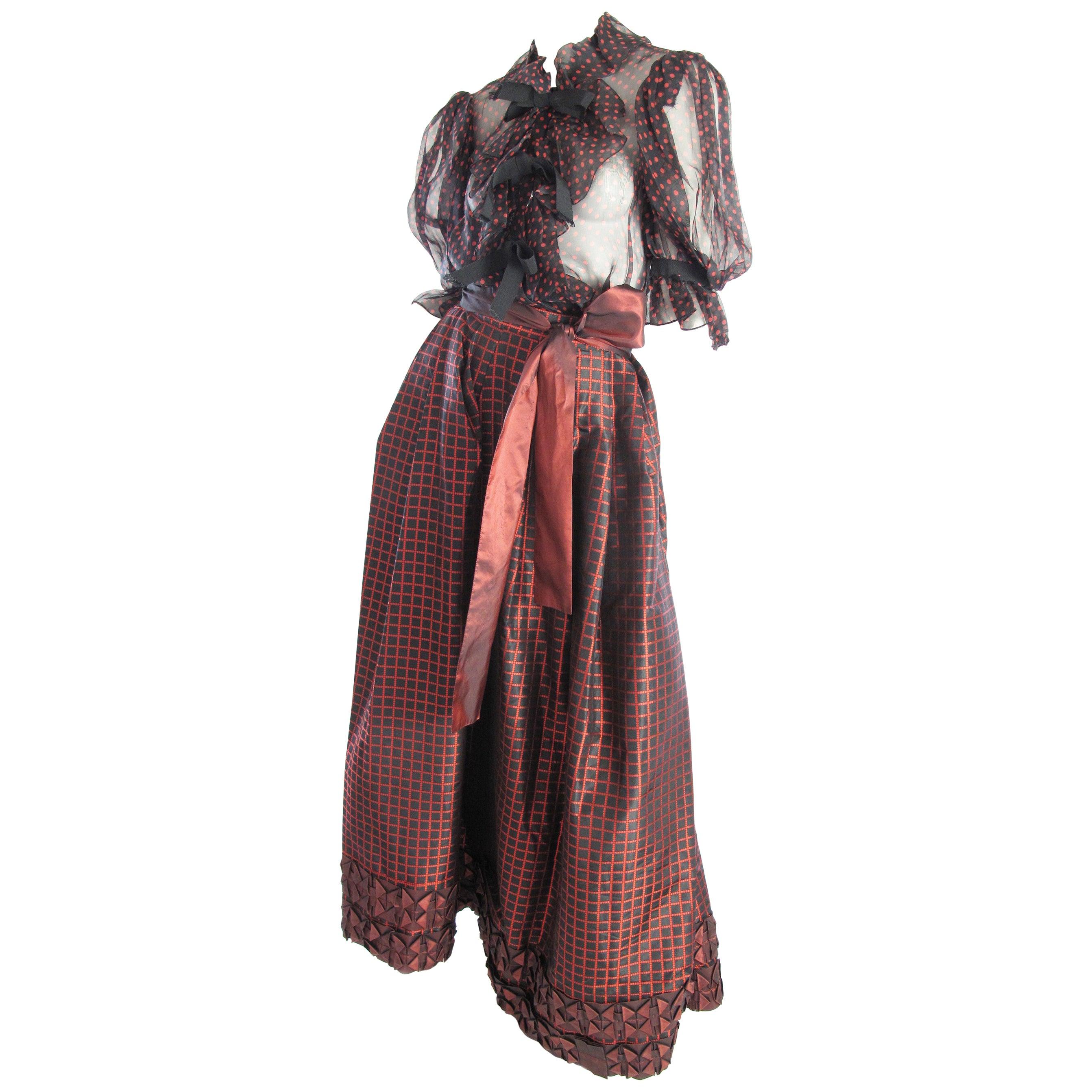1980s Yves Saint Laurent Rive Gauche Taffeta Evening Skirt and Sheer Bow Blouse