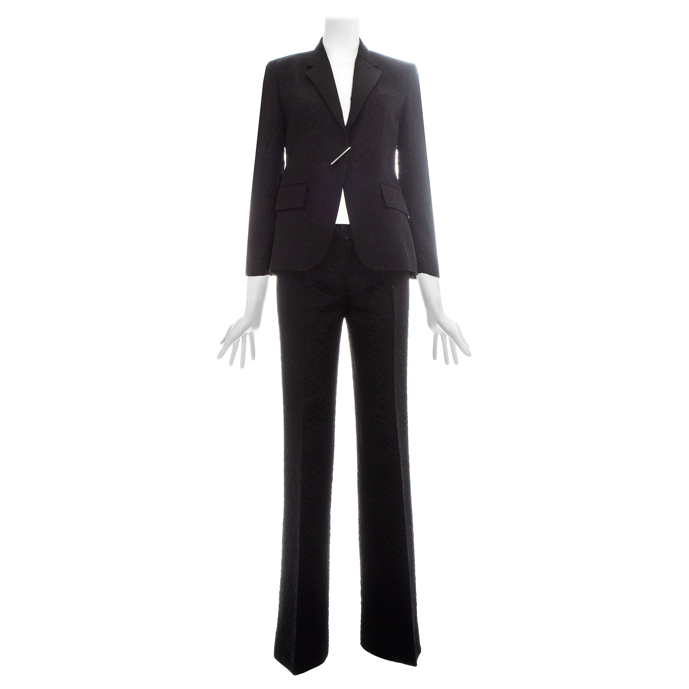 Gucci by Tom Ford black croc embossed evening pant suit, ss 2000