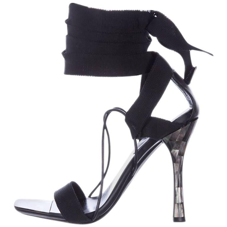 4adec69961b Tom Ford For Gucci Ribbon And Mother-of-pearl Sandals at 1stdibs