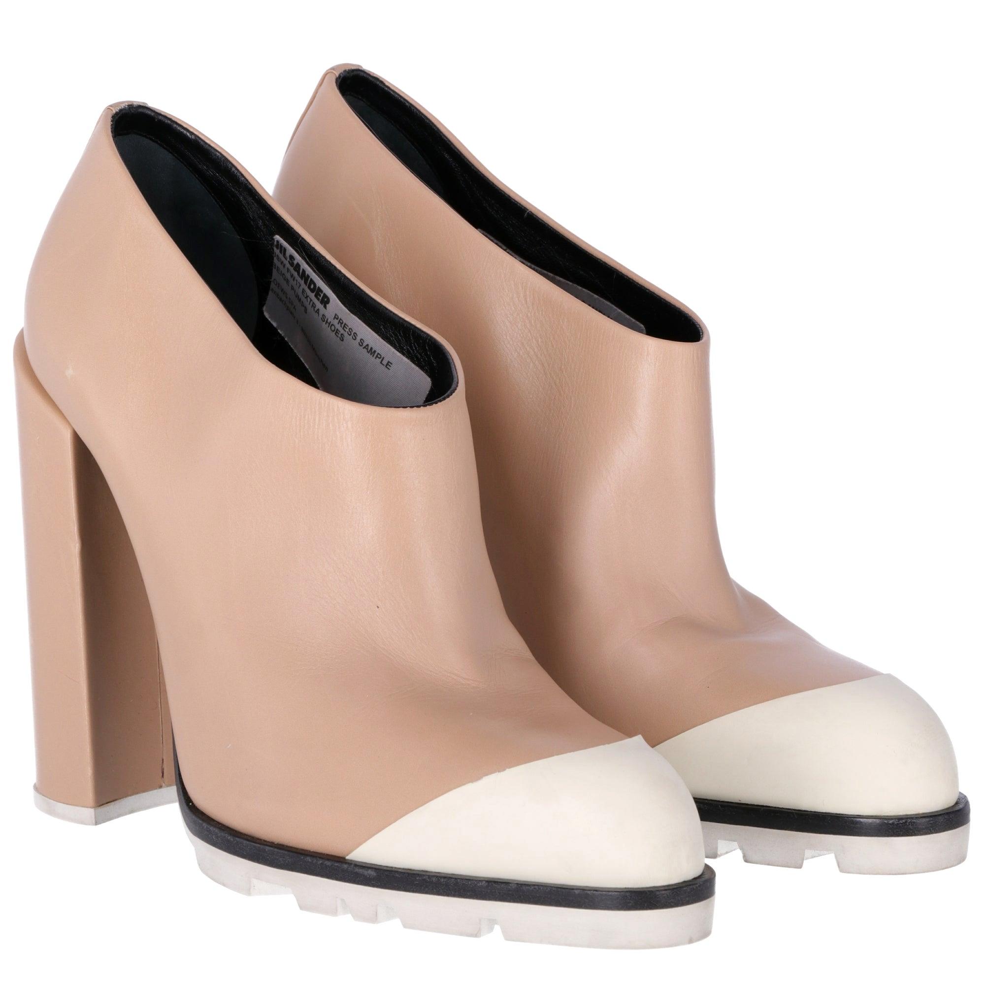 2010s Jil Sander Beige Leather Ankle Boots
