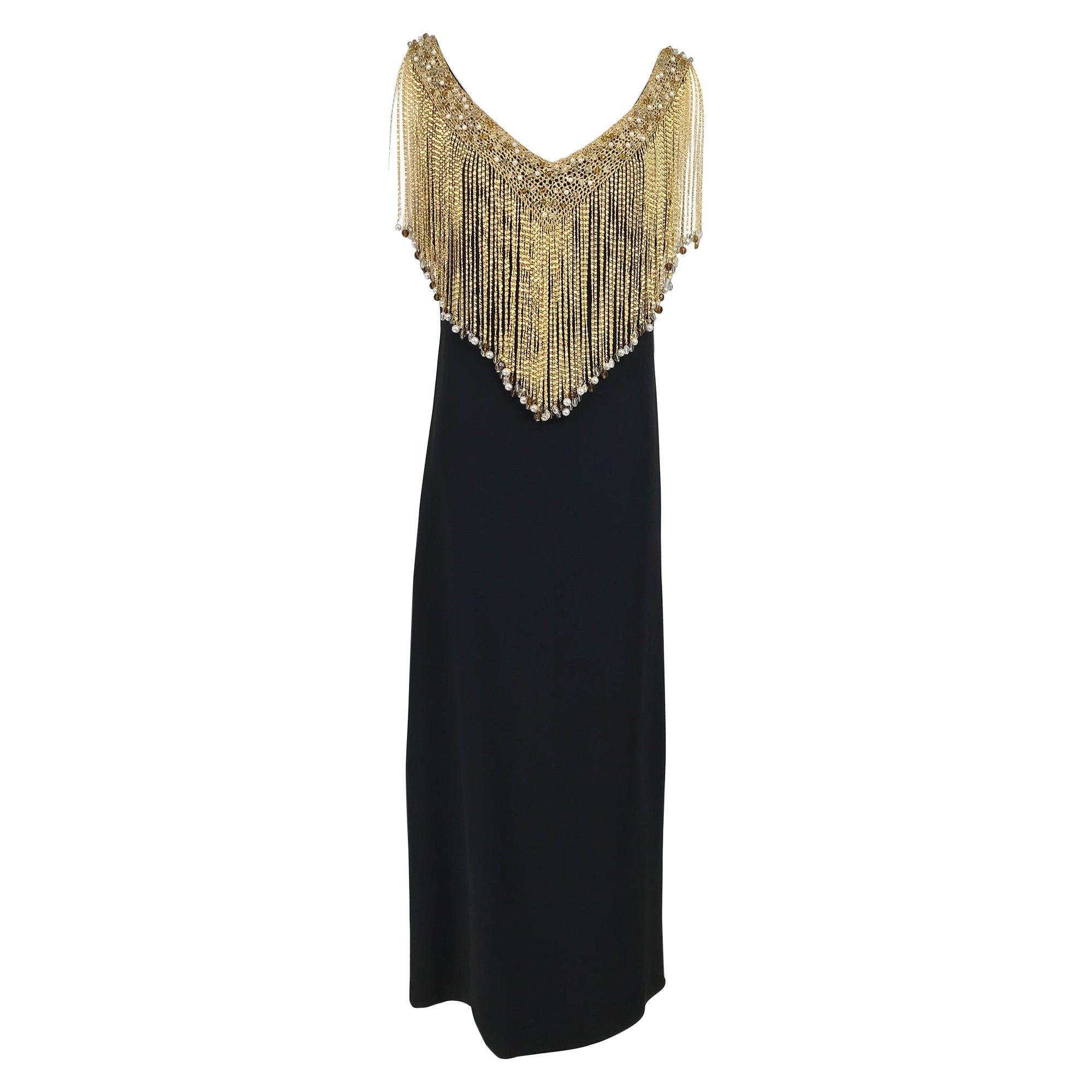 Loris Azzaro Couture Gold Chain Fringe Collar Black Maxi Dress 1970s