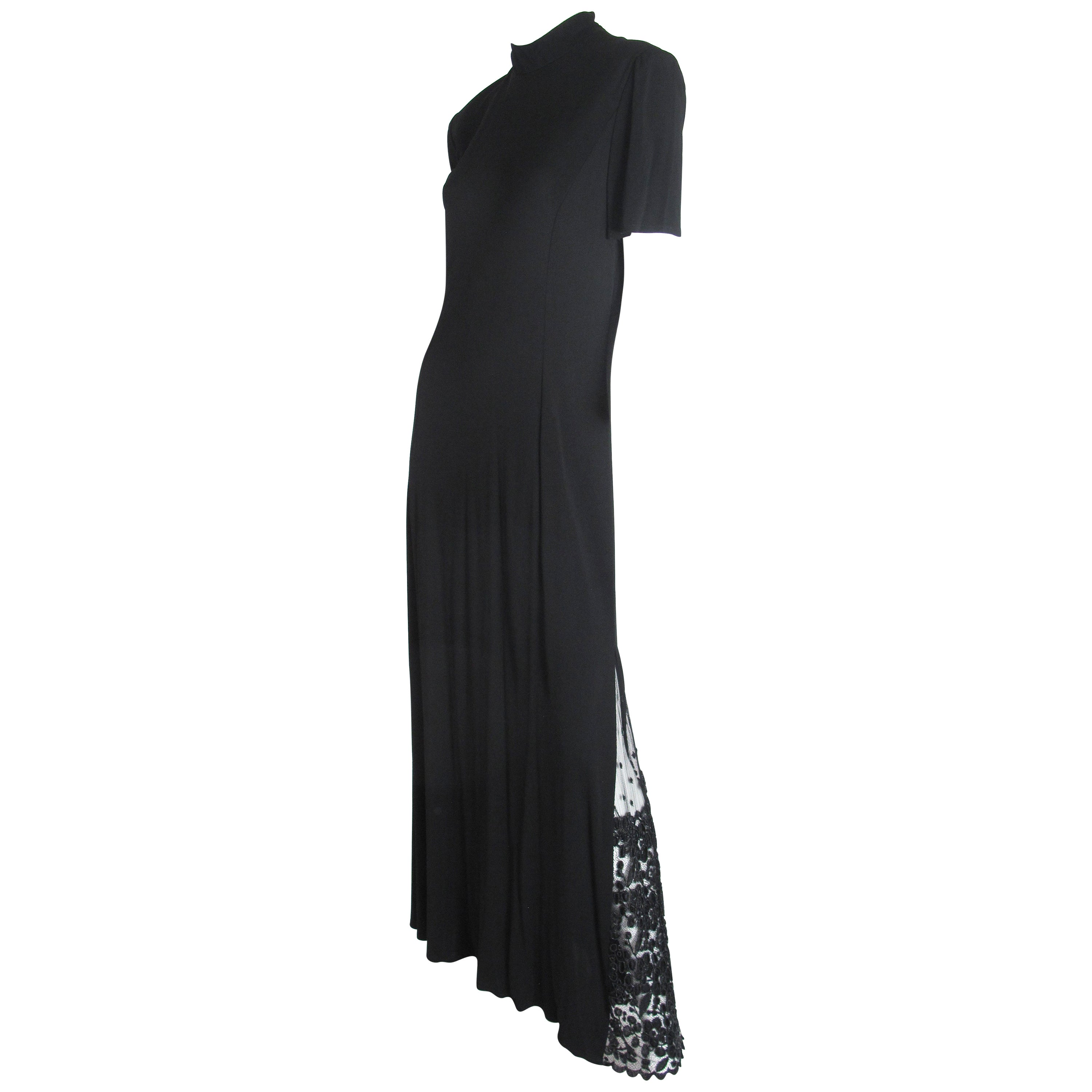 Badgley Mischka Black Evening Gown with Lace Insert