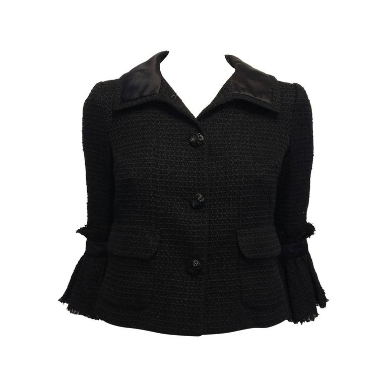 Chanel Black Tweed Jacket with Bell Sleeves For Sale