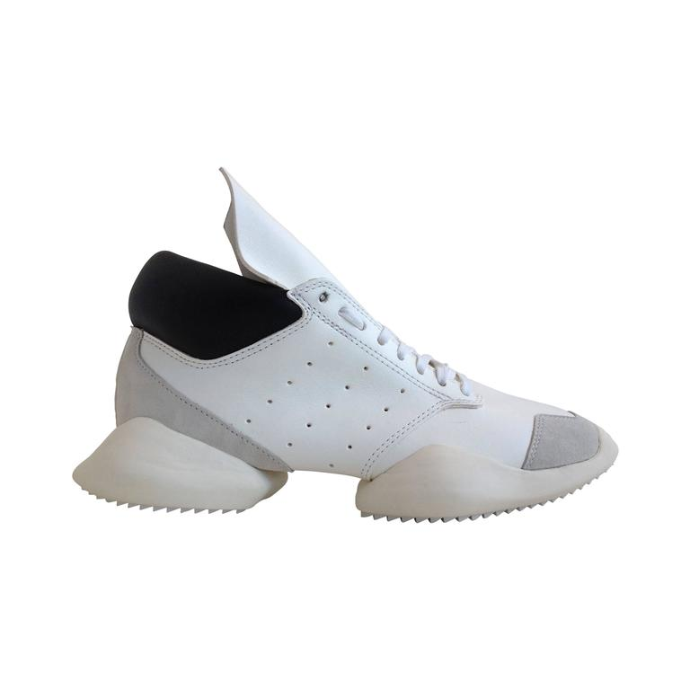 Rick Owens for Adidas White Puffy Sneakers For Sale