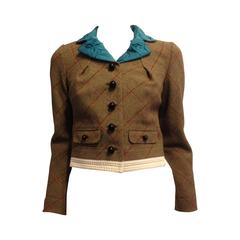 Louis Vuitton Olive Wool Jacket with Teal Lapels