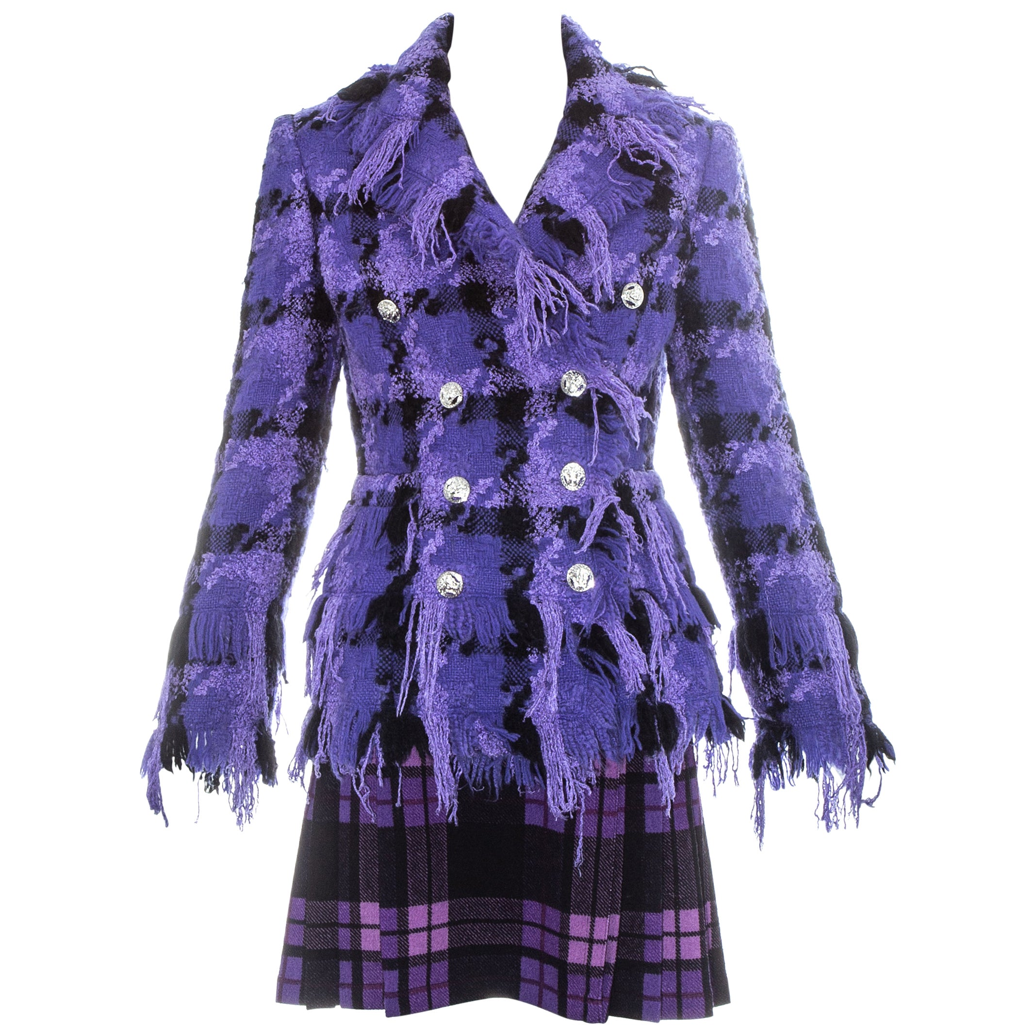 Gianni Versace purple and black checked wool skirt suit, fw 2004