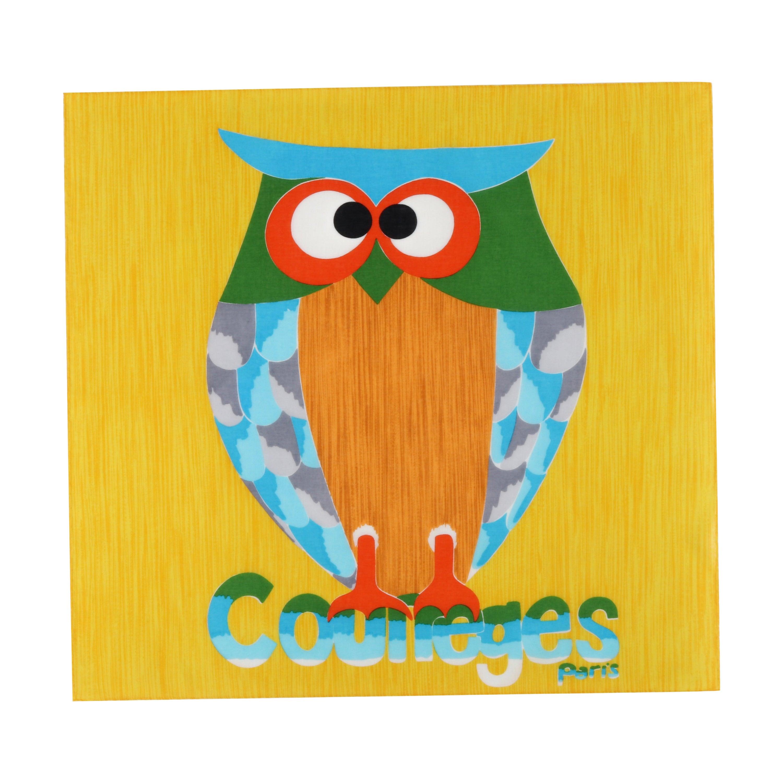 COURREGES c.1970's Pop Art Watercolor Owl Poplin Square Scarf