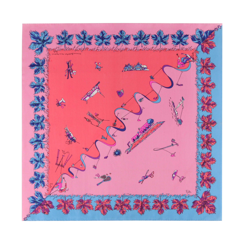 EMILIO PUCCI c.1950s Tremblant Lodge Ski & Beach Signature Silk Square Scarf