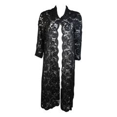 Elizabeth Mason Couture Black Beaded Lace Evening Coat 2 4 6 or Made to Measure
