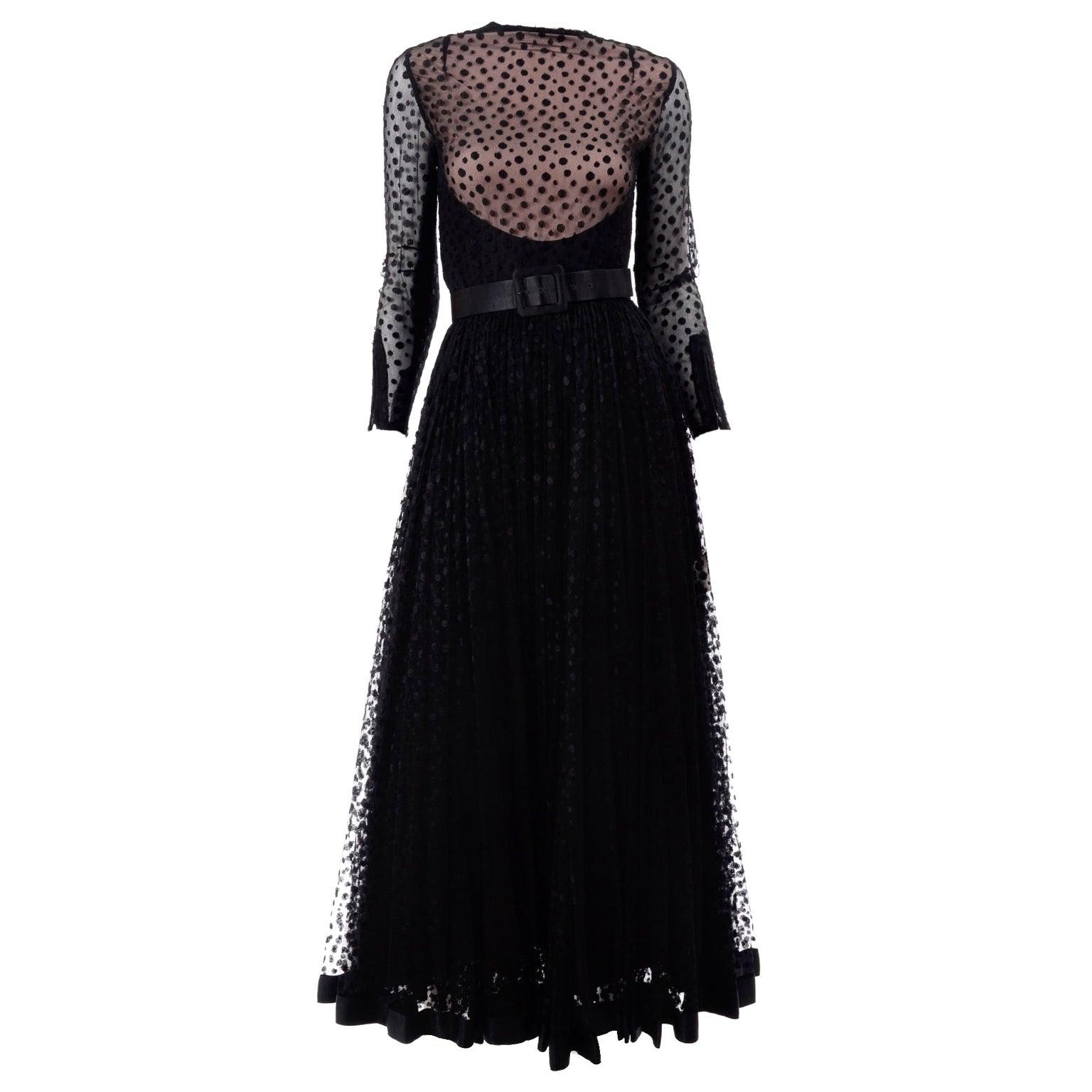 1960s Vintage Bill Blass Illusion Bodice Black Polka Dot Net Evening Dress