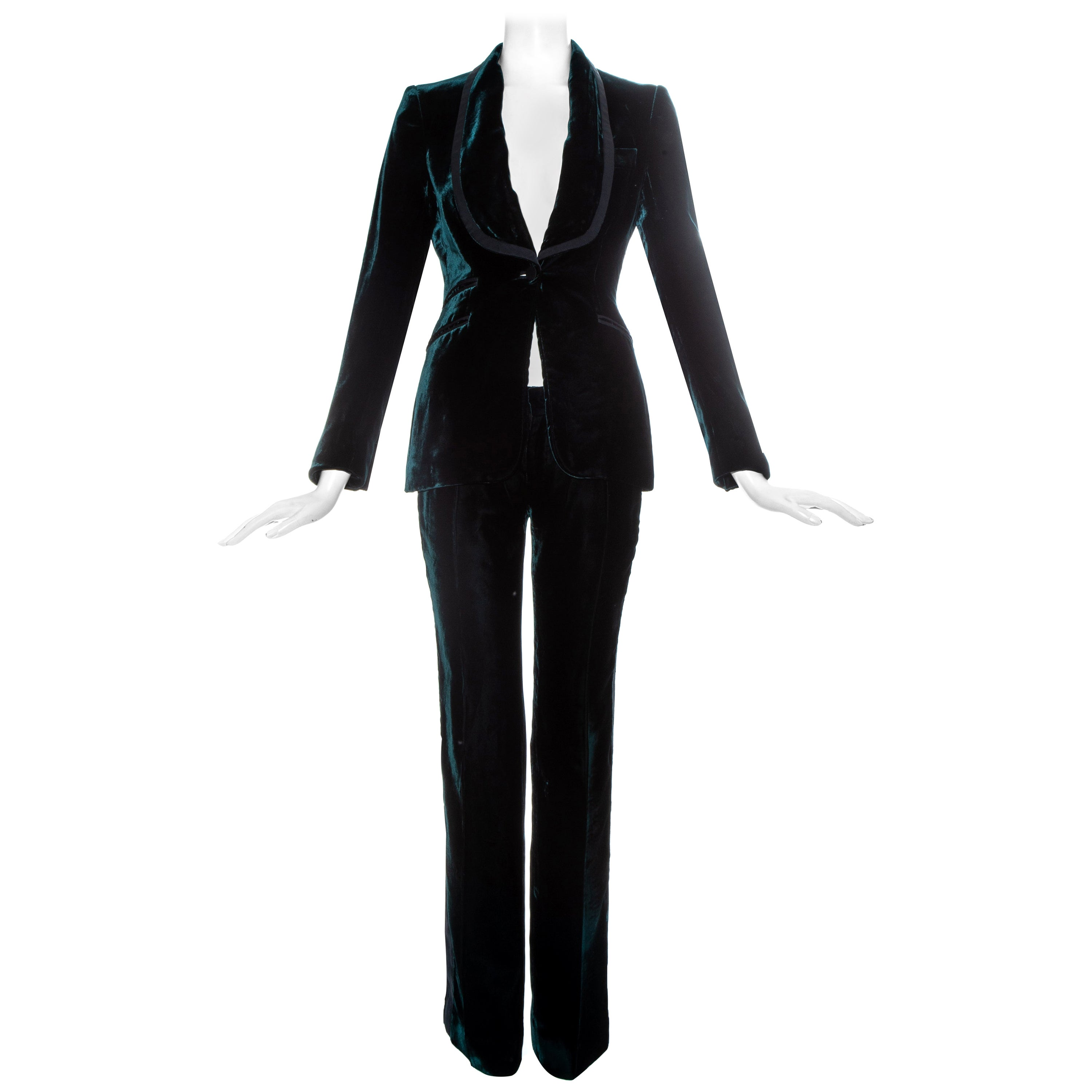 Gucci by Tom Ford green silk velvet evening pant suit, fw 2004