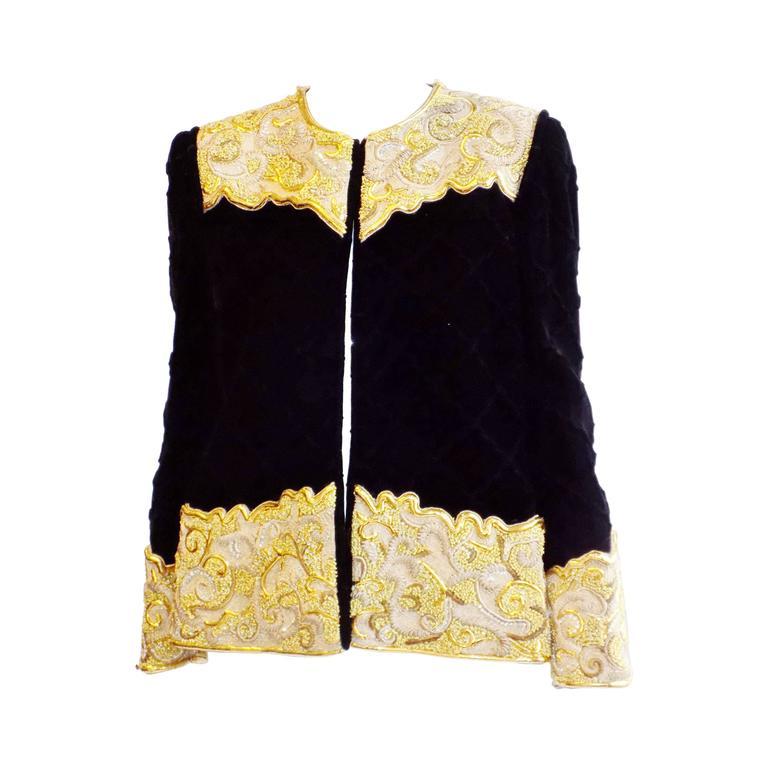 Michael NOVARESE Vintage  velvet  diamond quilt gold embroidery beaded jacket