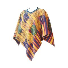1960s Traditional Colorful Woven Cotton Poncho