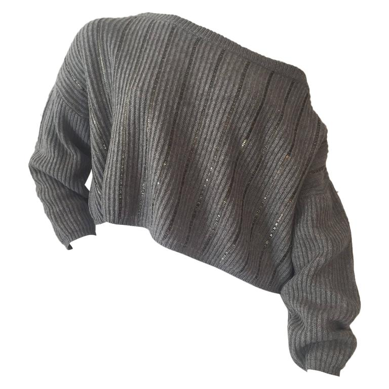 1980s Claude Montana Over-Sized Gunmetal Sweater w/ Chainlink Stripes. 1