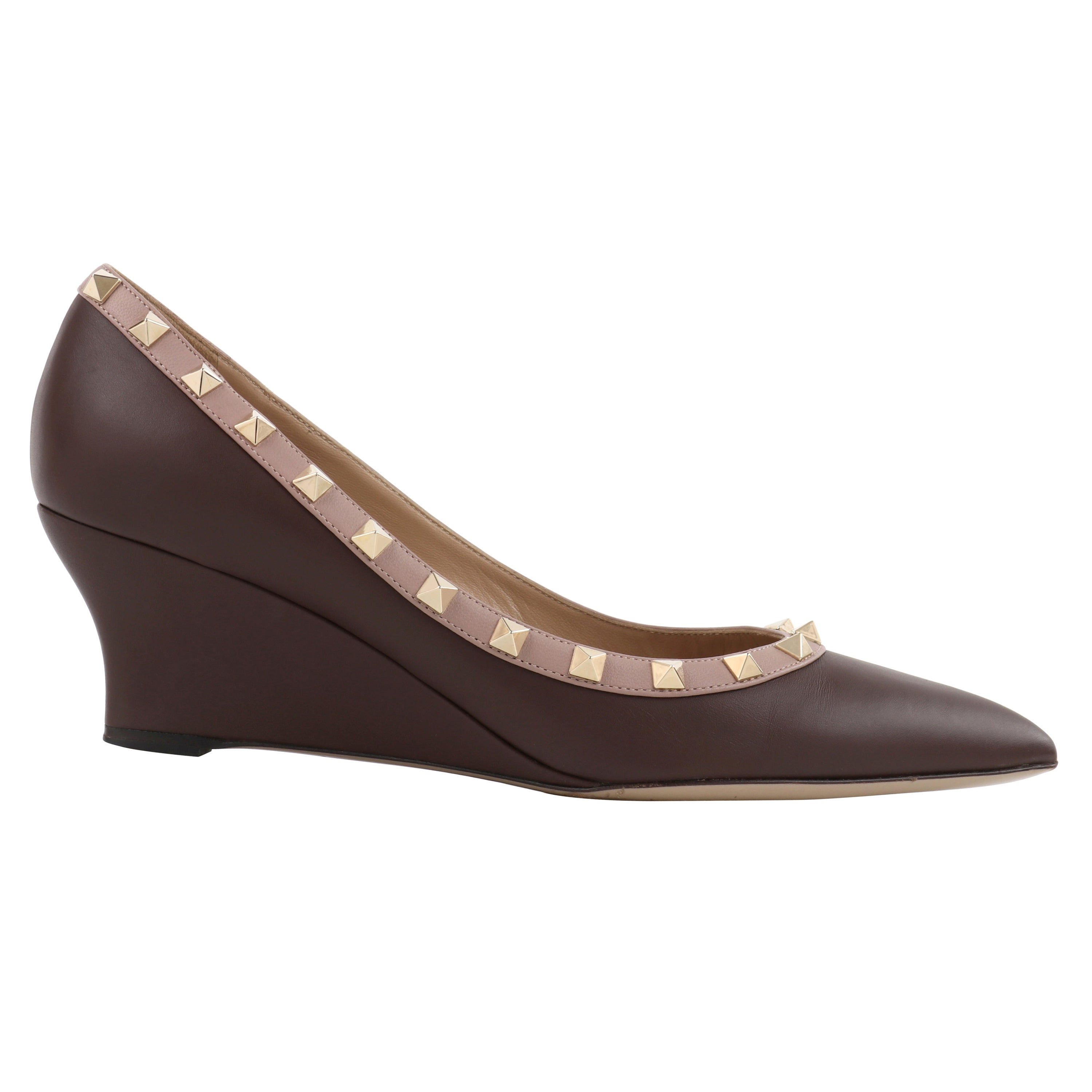 "VALENTINO ""Rockstud"" Cacao Brown Napa Leather Studded Pointed Toe Wedge Heels"