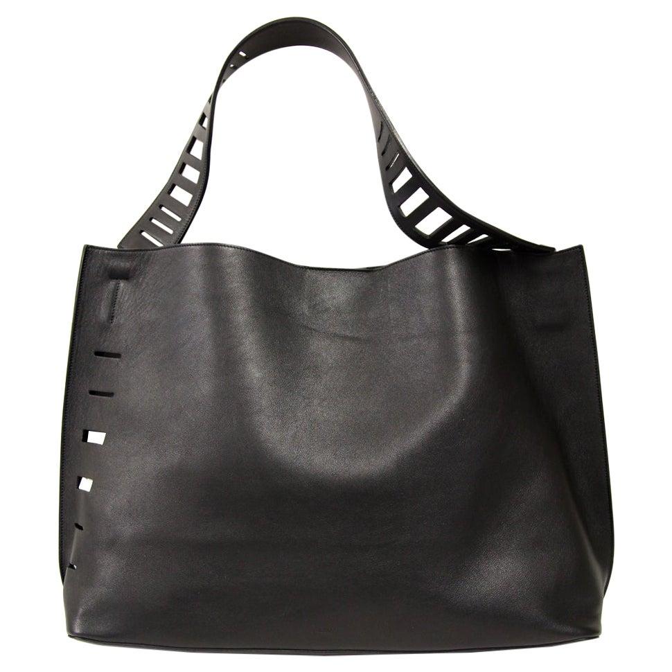 2000s Vince Vintage Black Leather Tote Bag