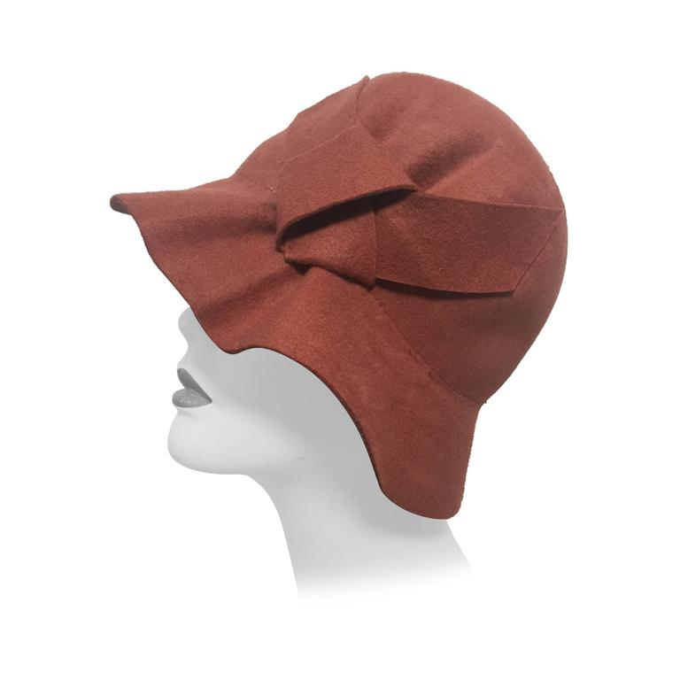 "1960s  Cinnamon Wool Felt ""Greta Garbo Style"" Cloche Hat with Pleated Detail"