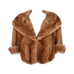 1950's Oleg Cassini Honey-Brown Mink Fur Portrait-Collar Cropped Bolero Jacket