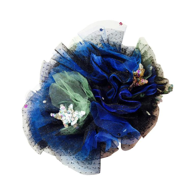 "1940s Irina Roublon Spectacular ""Starry Night"" Tulle and Sequin Evening Hat"