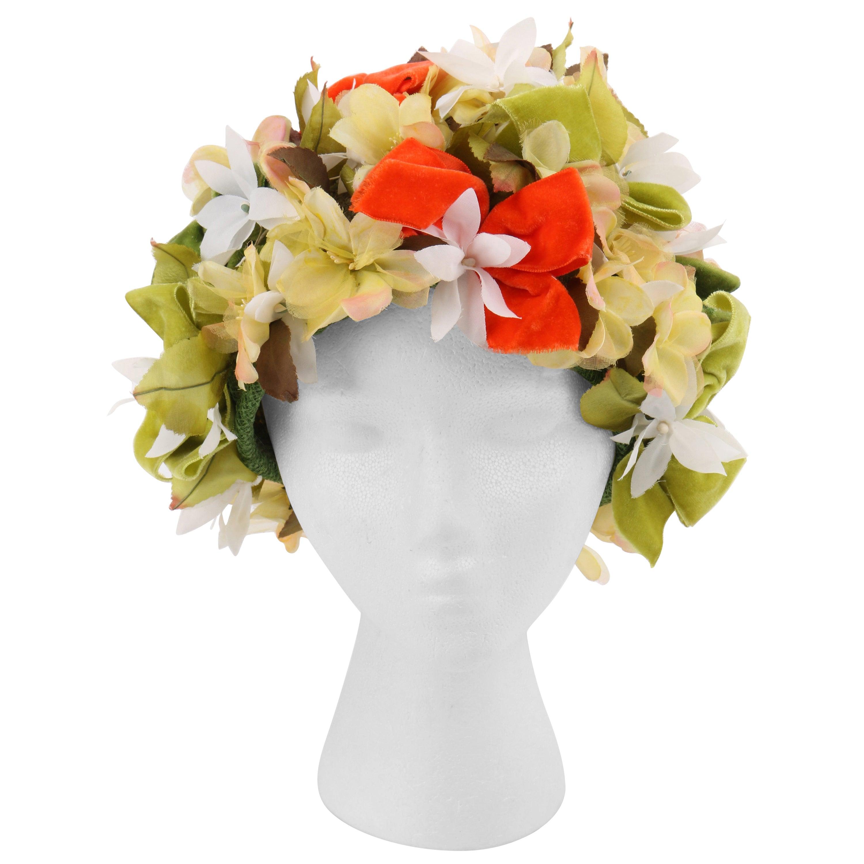 CHRISTIAN DIOR c.1960's Floral Garden Velvet Bow Flower Pot Cloche Hat