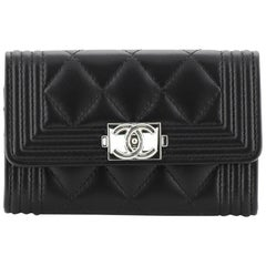 Chanel Boy Flap Card Holder Quilted Lambskin