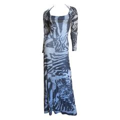 Aexander McQueen Abstract Print Backless Maxi